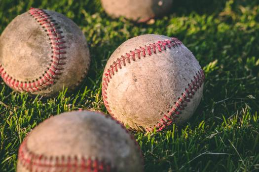Close Up Photography of Four Baseballs on Green Lawn Grasses #341489