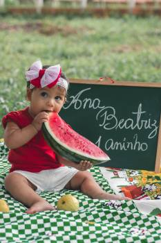 Photo of Girl Eating Watermelon Free Photo