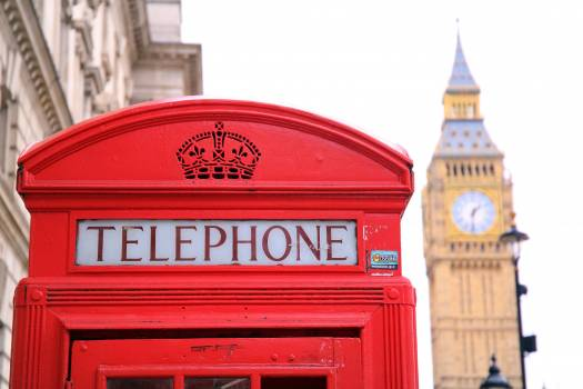 Red Telephone Booth in Front of Big Ben Free Photo