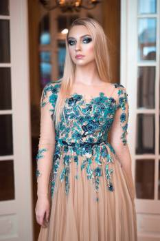 Woman Wearing Blue And Beige Floral Dress #341767