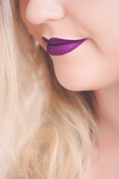 Woman With Purple Lipstick Free Photo