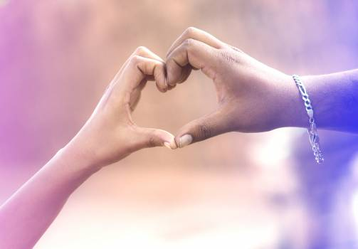 Two Persons Forming Heart by Hands Free Photo
