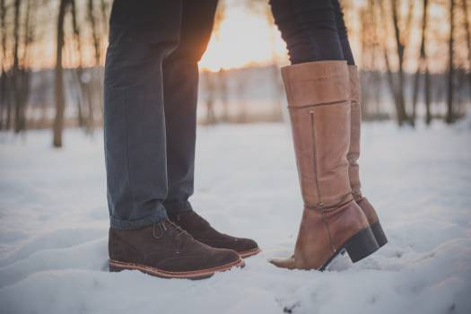 Couple shoes winter snow Free Photo