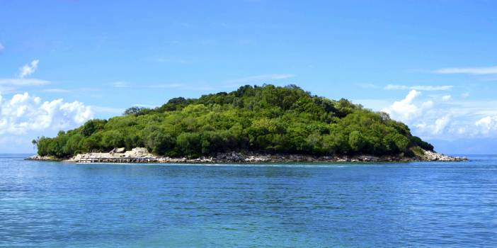 Island Covered With Green Trees Under the Clear Skies #34410
