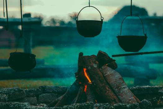 Black Cooking Pot Near Burning Woods #34589
