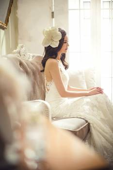 Woman in White Floral Wedding Dress Free Photo