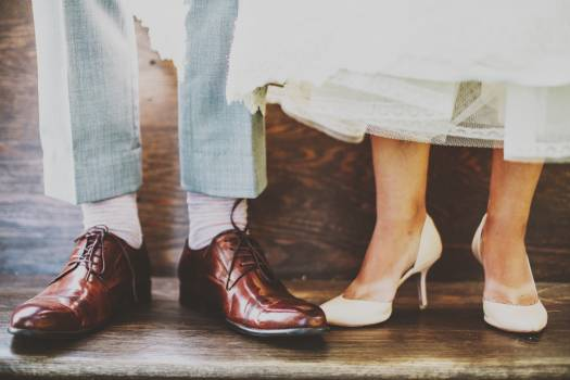 Bride bridegroom dress feet Free Photo