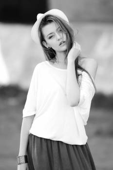 Woman Wearing White Off Shoulder Top in Gray Scale #34961