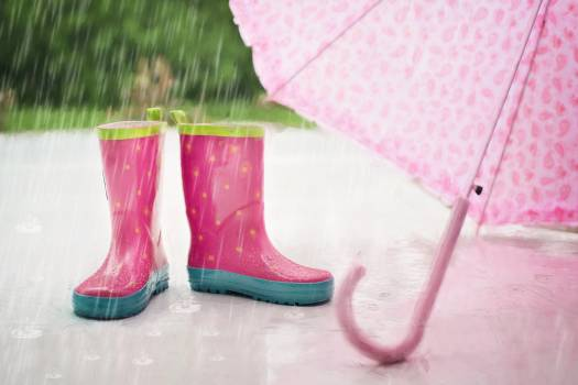 Red and Gray Rain Boots Near Pink Umbrella #34975