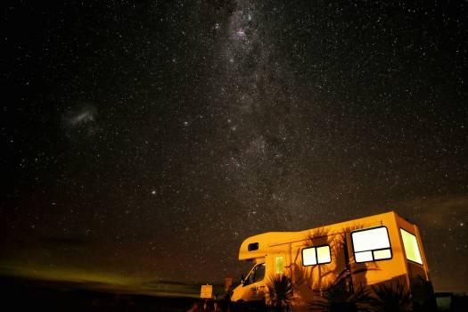 White Camper Van Under Star Lit Sky #35203