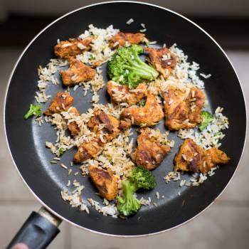 White Rice, Chicken and Broccoli on Black Non-stick Pan #35534