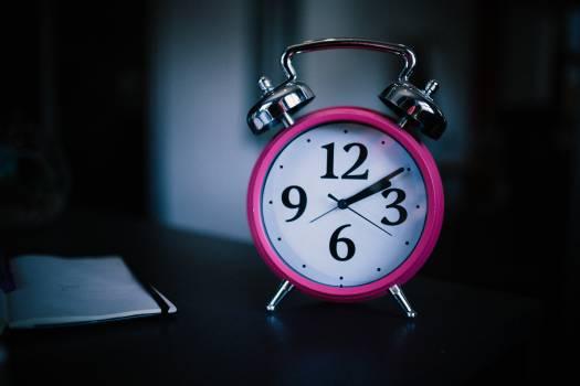 Grey and Pink Bell Alarm Clock at 2 10 Free Photo