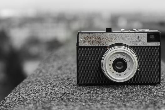 Black and Gray Classic Camera on Gray Concrete #36206