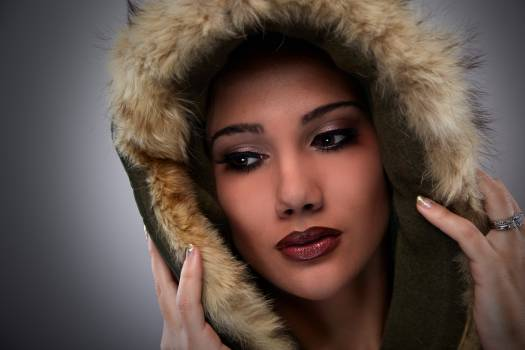 Woman on Black Mascara Red Lipstick Cover Her Face With Brown Fur Coat #36373