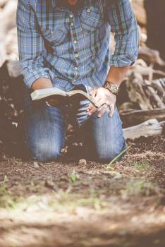 Man in Blue and Black Flannel and Blue Jeans Holding Book Kneeling on Brown Ground #36617