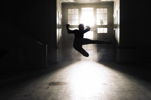 Silhouette of A Person Flying Kick Inside A Room Free Photo