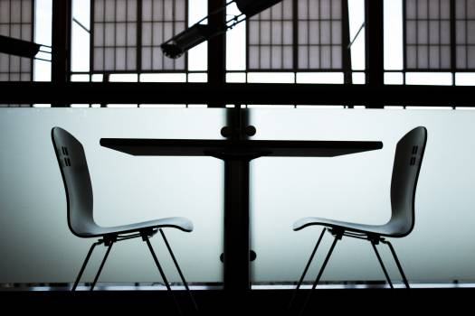 Black and white chairs frosted glass glass Free Photo