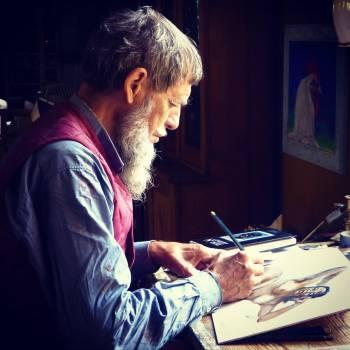 Man Painting Wearing Blue Dress Shirts #37196