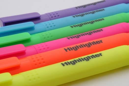Purple Blue Green Pink Orange and Yellow Highlighter #37309
