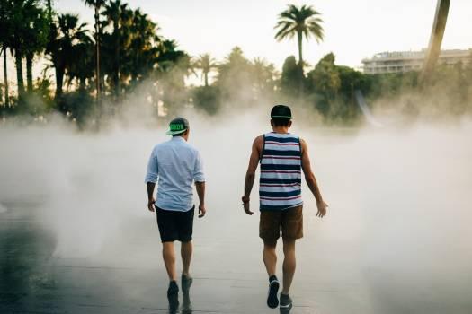 2 Men Walking Into the Smoke #37587