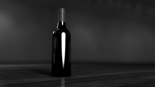 Black and Gray Glass Bottle #37777