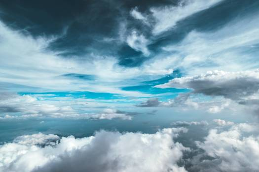 Cloudy Sky With Cirrus on Top and Cumulus Below It Free Photo