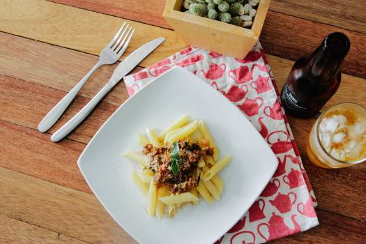 Pasta Dish on White Plate #38287