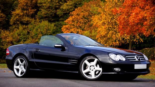 Black Mercedes Benz Convertible Coupe Sl Class Free Photo