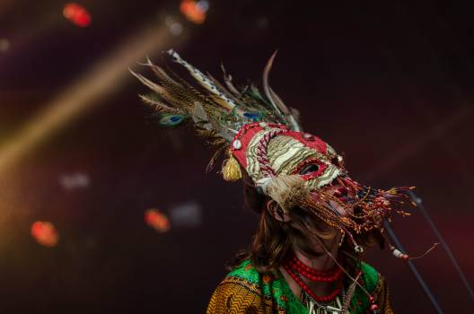 Red Grey Feathered Festival Mask #38317