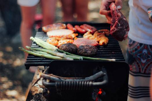 Grilled Meat on Black Grill Free Photo