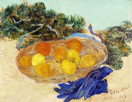 Still Life of Oranges and Lemons with Blue Gloves (1889) by Vincent Van Gogh. Original from The National Gallery of Art.  Free Photo