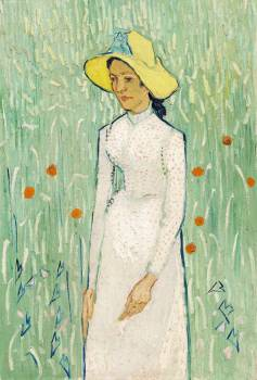 Girl in White (1890) by Vincent Van Gogh. Original from The National Gallery of Art.  Free Photo
