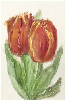Two Red Tulips by Sientje Mesdag-van Houten (1834–1909). Original from The Rijksmuseum.  Free Photo