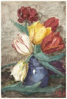 Tulips in a vase (1834–1909) by Sientje Mesdag-van Houten. Original from The Rijksmuseum.  #383955
