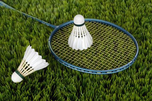 Blue Badminton Racket With Shuttlecock Free Photo