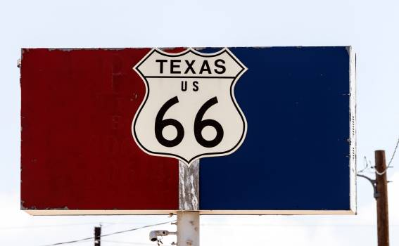 A representation of the sign for the Texas portion of the old U.S. Highway 66, posted during a short portion of that road still existing in Amarillo, Texas. Original image from Carol M. Highsmith's America, Library of Congress collection.  Free Photo