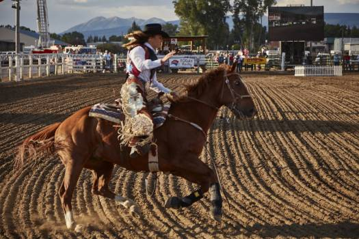 A contestant puts her ride through its paces at the Cattlemen's Days rodeo in Gunnison, Colorado. Original image from Carol M. Highsmith's America, Library of Congress collection.  Free Photo