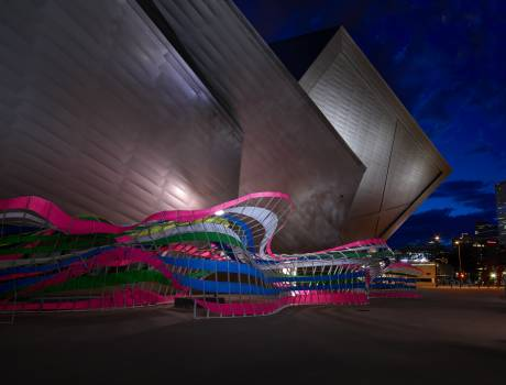 The Frederic C. Hamilton Building in Denver, Colorado, holds the modern and contemporary art, African art and Oceanic art collections at the Denver Art Museum. Its complex deconstructivist geometric design consists 20 sloping planes covered in 230,000 squ #384067