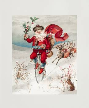 Santa Claus on a penny farthing with reindeer trailing and a rabbit from The Miriam And Ira D. Wallach Division Of Art, Prints and Photographs: Picture Collection published by L. Prang & Co. Original From The New York Public Library.  Free Photo