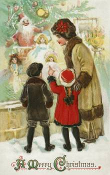 A Merry Christmas (1912) from The Miriam and Ira D. Wallach Division of Art, Prints and Photographs: Picture Collection by Frances Brundage. Original from the New York Public Library.  #384250