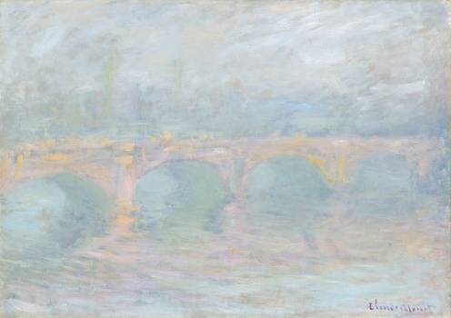 Waterloo Bridge, London, at Sunset (1901) by Claude Monet. Original from the National Gallery of Art.  Free Photo