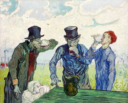 The Drinkers (1890) by Vincent Van Gogh. Original from the Art Institute of Chicago.  Free Photo