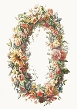 A flower wreath by Johan Teyler (1648-1709). Original from The Rijksmuseum.  Free Photo