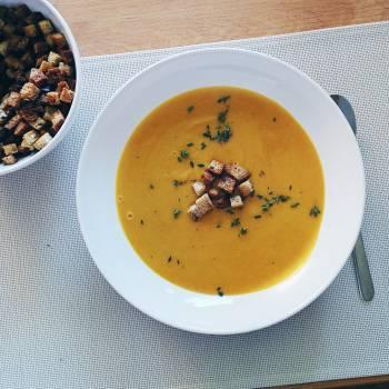 A bowl of Hokkaido pumpkin soup #384789