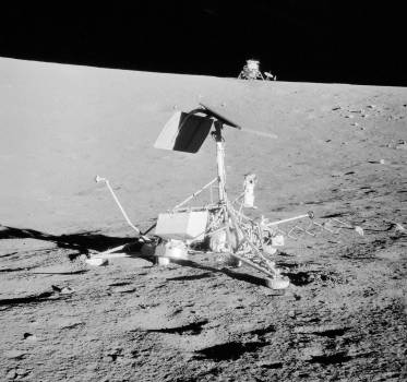 This unusual view shows two NASA spacecrafts on the surface of the moon, 20 Nov. 1969. Original from NASA .  #384918
