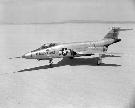 McDonnell F-101A-1-MC Voodoo 53-2418, first production aircraft, parked on Rogers Dry Lake, Edwards AFB. (U.S. Air Force). August 10th, 1956. Original from NASA.  #384963