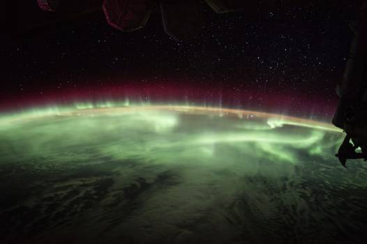The Earths aurora was take on board the International Space Station on June 25, 2017. Original from NASA.  Free Photo
