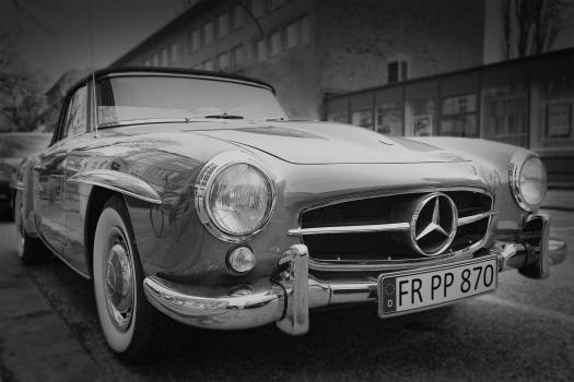 Grayscale Photography of Classic Mercedes Benz Car #38542