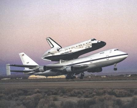 The space shuttle Atlantis atop NASA's 747 Shuttle Carrier Aircraft (SCA) during takeoff for a return ferry flight to the Kennedy Space Center from Edwards, California. 1994. Original from NASA.  #385488
