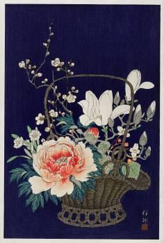 Bamboo flower basket (1932) by Ohara Koson (1877-1945). Original from The Rijksmuseum.  #385559